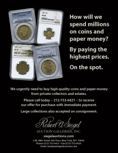 Siegel Buys Coins and Paper Money