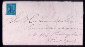 Sale Number 313, Lot Number 162, Carriers and Locals, Western Expresses3c Black on Dark Blue U S City Despatch Post Carrier, Double Impression (6LB5b), 3c Black on Dark Blue U S City Despatch Post Carrier, Double Impression (6LB5b)