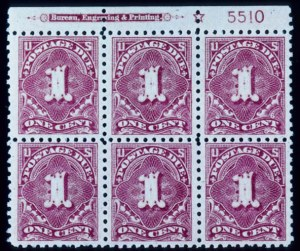 Sale Number 391, Lot Number 195, Postage Due thru Revenue1c Rose, Postage Due (J59). Top Star Imprint Plate No, 1c Rose, Postage Due (J59). Top Star Imprint Plate No