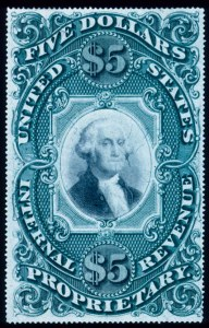 Sale Number 391, Lot Number 205, Postage Due thru Revenue$5.00 Proprietary, Violet Paper (RB10a), $5.00 Proprietary, Violet Paper (RB10a)
