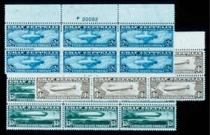 Sale Number 428, Lot Number 193, Air Post65c-$2.60 Graf Zeppelin (C13-C15). Complete Set of Top Plate No, 65c-$2.60 Graf Zeppelin (C13-C15). Complete Set of Top Plate No
