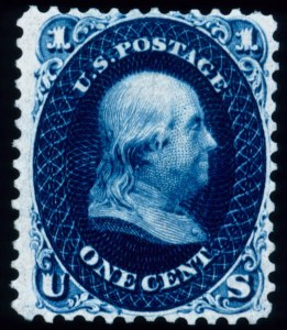 "Sale Number 448, Lot Number 46, 1861-66 Issue1c Indigo, ""First Design"" (55), 1c Indigo, ""First Design"" (55)"
