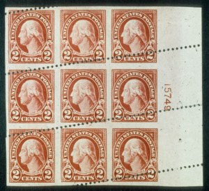 Sale Number 468, Lot Number 172, 1922 and Later Issues2c Carmine, Imperf. Vertically (554a). Right Plate No, 2c Carmine, Imperf. Vertically (554a). Right Plate No