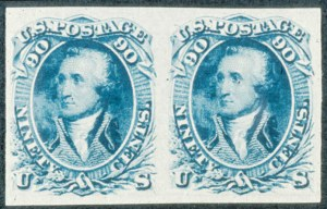 "Sale Number 468, Lot Number 66, 1861-66 Issue90c Dull Blue ""First Design"", Imperforate (62a), 90c Dull Blue ""First Design"", Imperforate (62a)"