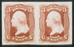 Sale Number 468, Lot Number 69, 1861-66 Issue3c Lake, Imperforate (66a). Horiz, 3c Lake, Imperforate (66a). Horiz