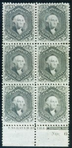 Sale Number 468, Lot Number 77, 1861-66 Issue24c Grayish Lilac (78a). Vertical Block of Six with Part Bottom Imprint & Plate No, 24c Grayish Lilac (78a). Vertical Block of Six with Part Bottom Imprint & Plate No
