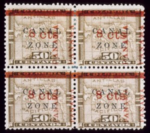 Sale Number 489, Lot Number 278, U.S. Possessions1904, 8c on 50c Bistre Brown, Top Pair 15mm Ovpt. (15, 15 var), 1904, 8c on 50c Bistre Brown, Top Pair 15mm Ovpt. (15, 15 var)