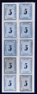 Sale Number 489, Lot Number 301, U.S. Possessions1865, 5c Blue on Blue (22), 1865, 5c Blue on Blue (22)