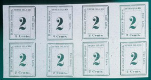 "Sale Number 489, Lot Number 308, U.S. Possessions1864, 2c Black on Laid, Horizontal ""Straddle"" Block of Eight (24 var.), 1864, 2c Black on Laid, Horizontal ""Straddle"" Block of Eight (24 var.)"