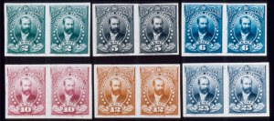 Sale Number 489, Lot Number 314, U.S. Possessions1896, 2c-25c Official, Proofs on India (O1P-O6P). Horiz. Pairs, Complete Set, Large Margins, never hinged, 1896, 2c-25c Official, Proofs on India (O1P-O6P). Horiz. Pairs, Complete Set, Large Margins, never hinged
