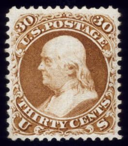 Sale Number 510, Lot Number 100, 1875 Re-Issue of 1861-66 Issue30c Brownish Orange, Re-Issue (110), 30c Brownish Orange, Re-Issue (110)