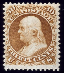 Sale Number 510, Lot Number 101, 1875 Re-Issue of 1861-66 Issue30c Brownish Orange, Re-Issue (110), 30c Brownish Orange, Re-Issue (110)