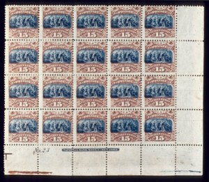 Sale Number 510, Lot Number 105, 1869 Pictorial Issue15c Brown & Blue, Ty. II (119). B.R. Sheet Corner Imprint & Plate No, 15c Brown & Blue, Ty. II (119). B.R. Sheet Corner Imprint & Plate No