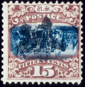 Sale Number 510, Lot Number 107, 1869 Pictorial Issue15c Brown & Blue, Center Inverted (119b), 15c Brown & Blue, Center Inverted (119b)