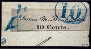 Sale Number 510, Lot Number 11, Postmasters ProvisionalsBaltimore, Md., 10c Black on Bluish (3X4), Baltimore, Md., 10c Black on Bluish (3X4)