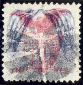 Sale Number 510, Lot Number 112, 1869 Pictorial Issue30c Blue & Carmine, Flags Inverted (121b), 30c Blue & Carmine, Flags Inverted (121b)