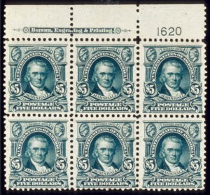 Sale Number 510, Lot Number 178, 1902-08 Issue$5.00 Dark Green (313). T. Imprint & Plate No, $5.00 Dark Green (313). T. Imprint & Plate No