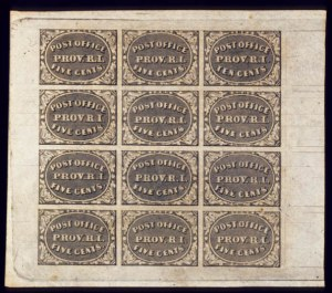 Sale Number 510, Lot Number 18, Postmasters ProvisionalsProvidence, R.I, 5c, 10c Gray Black, Complete Sheet of 12 (10X1, 10X2), Providence, R.I, 5c, 10c Gray Black, Complete Sheet of 12 (10X1, 10X2)