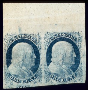 Sale Number 510, Lot Number 37, 1851-56 Issue1c Blue, Horiz. Combination Pair, Ty. II & IV, Pos. 4-5R1L (7, 9), 1c Blue, Horiz. Combination Pair, Ty. II & IV, Pos. 4-5R1L (7, 9)
