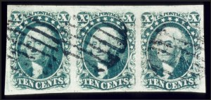Sale Number 510, Lot Number 46, 1851-56 Issue10c Green, Ty. I (13). Horiz, 10c Green, Ty. I (13). Horiz