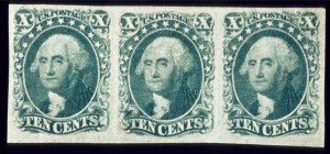 Sale Number 510, Lot Number 49, 1851-56 Issue10c Green, Horizontal Combination Strip of Three, Types II, IV, II (14,16), 10c Green, Horizontal Combination Strip of Three, Types II, IV, II (14,16)