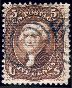 Sale Number 510, Lot Number 85, 1867-68 Grilled Issues5c Dark Brown, Grilled All Over (80a), 5c Dark Brown, Grilled All Over (80a)