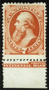 Sale Number 560, Lot Number 168, 1870-93 Bank Note Issues7c Reddish Vermilion, Special Printing (171), 7c Reddish Vermilion, Special Printing (171)