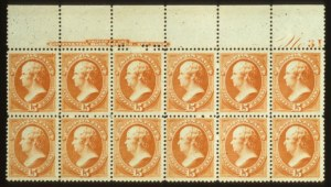 Sale Number 560, Lot Number 172, 1870-93 Bank Note Issues15c Red Orange (189). Top Imprint & Plate No, 15c Red Orange (189). Top Imprint & Plate No