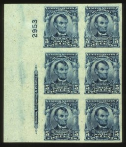 Sale Number 560, Lot Number 243, 1902-08 Issue5c Blue, Imperforate (315). Left Imprint & Plate No, 5c Blue, Imperforate (315). Left Imprint & Plate No