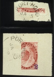 Sale Number 560, Lot Number 384, General Foreign1899, 1c on 1/2 of 3c, 2c on 2/3 of 3c Carmine Port Hood Provisionals (88B, 88C), 1899, 1c on 1/2 of 3c, 2c on 2/3 of 3c Carmine Port Hood Provisionals (88B, 88C)