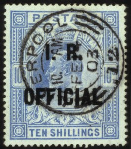 Sale Number 560, Lot Number 403, General Foreign1902, 10sh Ultramarine, Official (O25), 1902, 10sh Ultramarine, Official (O25)