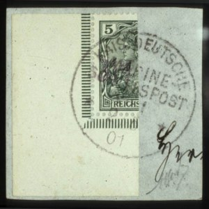 "Sale Number 560, Lot Number 405, General ForeignGERMANY, 1901, 3pf on Half of 5pf Green, ""Vineta"" Provisional  (65B), GERMANY, 1901, 3pf on Half of 5pf Green, ""Vineta"" Provisional  (65B)"