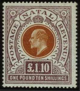 Sale Number 560, Lot Number 418, General ForeignNATAL, 1904, £1 10sh Violet & Orange Brown (109), NATAL, 1904, £1 10sh Violet & Orange Brown (109)