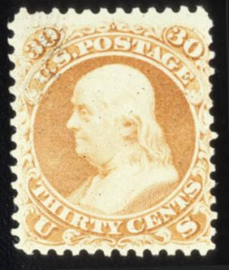Sale Number 579, Lot Number 150, 1875 Re-Issue of 1861-66 Issue30c Brownish Orange, Re-Issue (110), 30c Brownish Orange, Re-Issue (110)