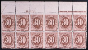 Sale Number 579, Lot Number 447, Special Delivery thru Postal Stationery30c Red Brown, Postage Due (J20). Top Left Imperf. Half Arrow Imprint & Plate No, 30c Red Brown, Postage Due (J20). Top Left Imperf. Half Arrow Imprint & Plate No