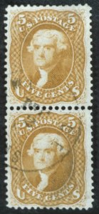 Sale Number 596, Lot Number 207, 1861-66 Issue5c Buff (67), 5c Buff (67)