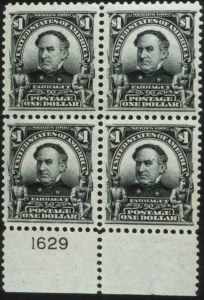 Sale Number 596, Lot Number 325, 1902-08 Issue$1.00 Black (311). Block with Bottom Plate No, $1.00 Black (311). Block with Bottom Plate No