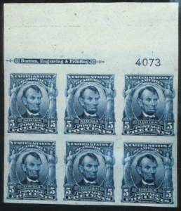 Sale Number 596, Lot Number 329, 1902-08 Issue5c Blue, Imperforate (315). Mint Imprint & Plate No, 5c Blue, Imperforate (315). Mint Imprint & Plate No