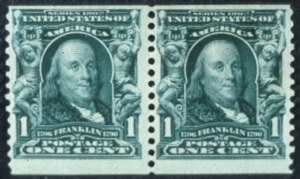 Sale Number 596, Lot Number 330, 1902-08 Issue1c Blue Green, Coil (318), 1c Blue Green, Coil (318)