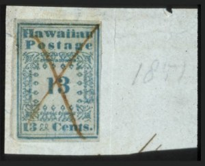 "Sale Number 596, Lot Number 407, U.S. Possessions1851, 13c Blue, ""Missionary"" (3), 1851, 13c Blue, ""Missionary"" (3)"