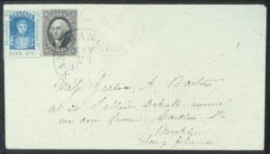 Sale Number 596, Lot Number 409, U.S. Possessions1857, 5c Blue on Thin White Paper (8). Used in Combination with U.S, 1857, 5c Blue on Thin White Paper (8). Used in Combination with U.S