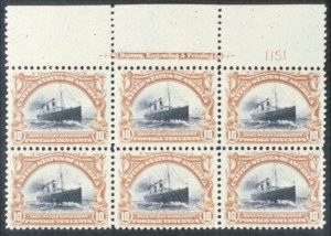 Sale Number 618, Lot Number 180, Pan-American Issue10c Pan-American (299). Top Imprint and Plate No, 10c Pan-American (299). Top Imprint and Plate No