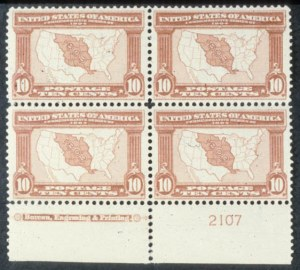 Sale Number 618, Lot Number 186, Later Issues10c Louisiana Purchase (327). Bottom Imprint & Plate No, 10c Louisiana Purchase (327). Bottom Imprint & Plate No