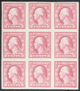 Sale Number 618, Lot Number 201, Later Issues5c Carmine Error, Imperforate (485). Block of Nine (3x3), 5c Carmine Error, Imperforate (485). Block of Nine (3x3)