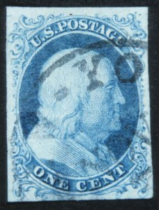 Sale Number 632, Lot Number 178, 1851-56 Issue1c Blue, Ty. I (5), 1c Blue, Ty. I (5)