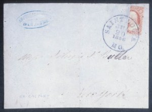 Sale Number 632, Lot Number 191, 1851-56 Issue3c Red, Vertical Two-Thirds Used as 1c (11c), 3c Red, Vertical Two-Thirds Used as 1c (11c)