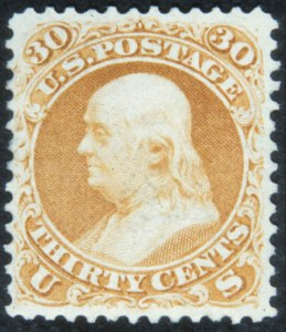 Sale Number 632, Lot Number 274, 1875 Re-Issue of 1861-66 Issue30c Brownish Orange, Re-Issue (110), 30c Brownish Orange, Re-Issue (110)