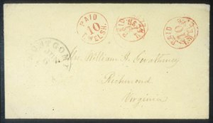 Sale Number 632, Lot Number 42, Confederate States Postmasters ProvisionalsMontgomery, Ala., 10c on 5c Red on Yellow Entire (59XU6), Montgomery, Ala., 10c on 5c Red on Yellow Entire (59XU6)