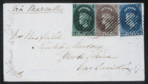 Sale Number 632, Lot Number 556, General ForeignCEYLON, 1857, 6p Plum on Bluish (2), CEYLON, 1857, 6p Plum on Bluish (2)