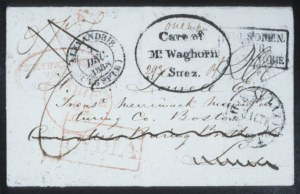 "Sale Number 632, Lot Number 560, General ForeignEGYPT, ""Care of/Mr. Waghorn/Suez"", EGYPT, ""Care of/Mr. Waghorn/Suez"""